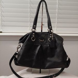 Coach black leather bag silver hardware. Pre-owned